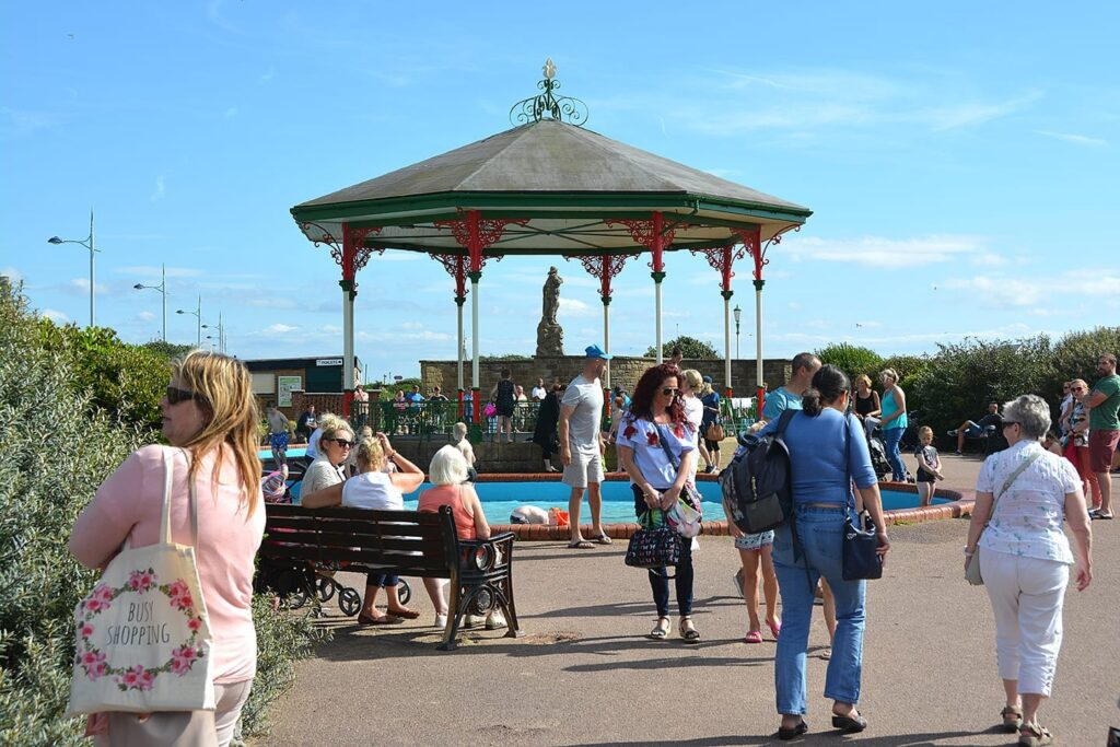 St Annes paddling pool and bandstand at the seafront and beach