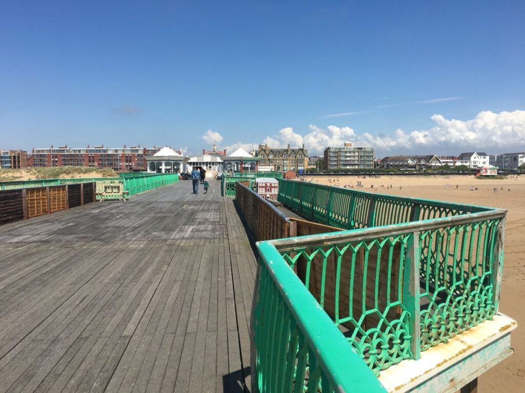 Looking back along the pier