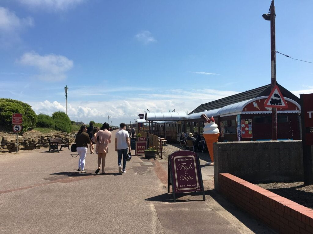 Railway carriage cafe at St Annes seafront
