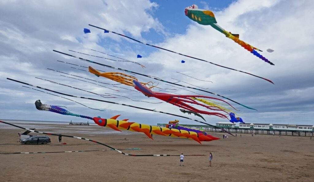 A bit of kite flying on the Friday of the first cancelled Kite Festival weekend. Photo: Sue Massey