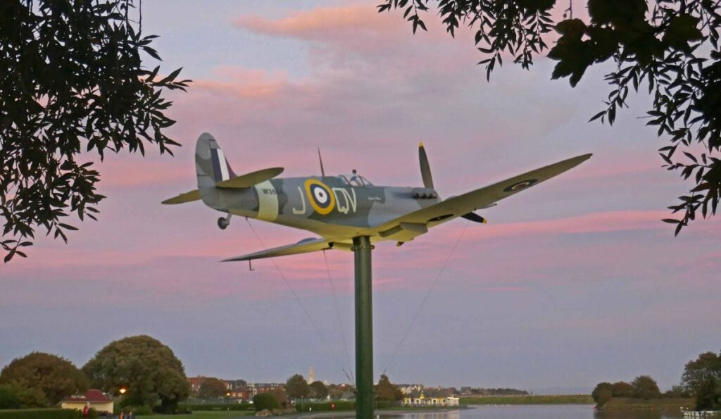 Spitfire memorial captured at sunset against Fairhaven Lake. Photo: Sue Massey