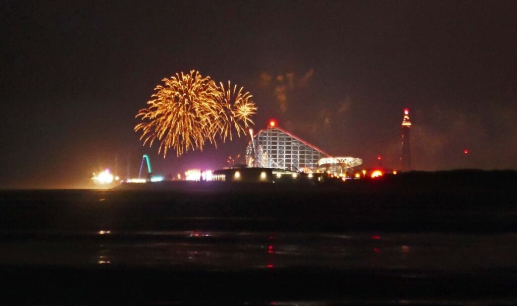 Blackpool World Fireworks seen from St Annes, by Sue Massey